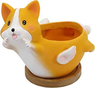 Gemseek Resin Corgi Succulent Planter Pot with Bamboo Drainage Tray, Cute Animal Shaped Cactus Flower Container Bonsai Holder for Indoor Home Décor