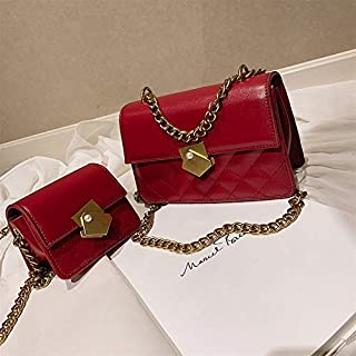 Adebie - Ladies Handbags Women Messenger Bags Flap Shoulder Bags Chains Fashion Solid Cross Body Bags Designer Brand Women Bags 2019 L Red []