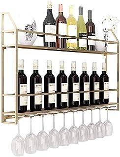 DJSMjbj LOFT Vintage Mur Shelf Support de Rangement Cuisine de Stockage Organisation Wine Rack Montage Mural autoportant M...
