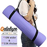 Qatalyze Extra Thick 8mm TPE Yoga mat with Cover Bag and Strap, Extra Wide (66cm),Non Slip, Strong Grip Exercise mat for Men and Women (Purple;183cmx66cmx8mm)