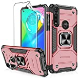 Moto G Power 2020 Case with HD Screen Protector, Atump 360° Rotation Ring Holder Kickstand [Work with Magnetic Car Mount] PC+ TPU Phone Case for Motorala G Power 2020 Rose Gold