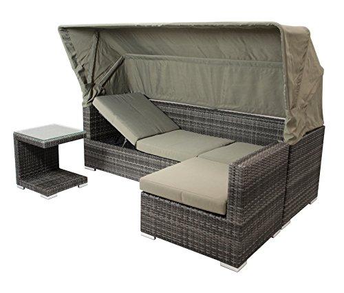 DEGAMO Funktions Loungeset MANACOR 16-teilig, Alu + Geflecht grau Bicolor, Polster taupefarben, XL-Ausführung mit 215cm Breite BZW. 195cm Liegefläche/Sitzbreite - 2