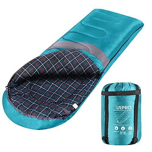 URPRO Saco de Dormir para 3 a 4 Estaciones, Clima cálido y frío, Ligero, portátil, Impermeable, Saco de compresión para Adultos y niños, Interior y Exterior: Camping, mochilero, Senderismo (Verde)