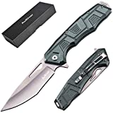 EDC Pocket Knife, EXTREMELY SHARP Folding Knives with 3.7inch Blade, Aluminiumalloy Handle,Pocket Clip for Camping Hunting and Outdoor (Light Green)