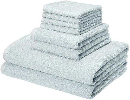 Amazon Basics Quick-Dry Towels - 100% Cotton, 8-Piece Set, Ice Blue