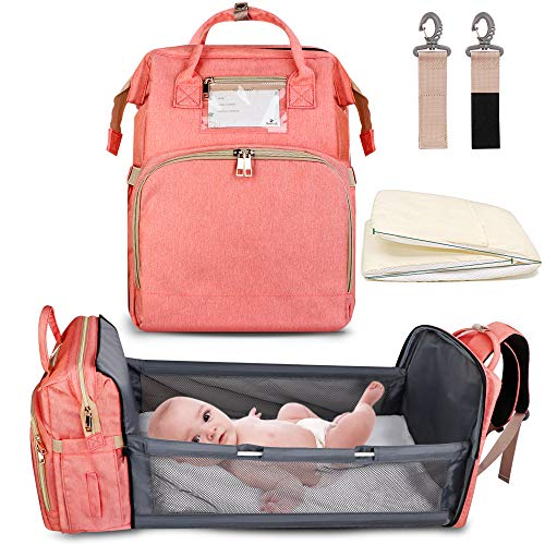 5-in-1 Travel Foldable Baby Bed, ZOUNICH Diaper Bag Backpack with Chaging Station for Men Women,Portable Bassinets for Baby Girls Boys, Travel Crib Infant Sleeper,Baby Nest with Mattress Included
