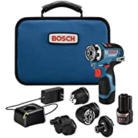 Bosch GSR12V-300FCB22 12V Max EC Brushless Flexiclick 5-In-1 Drill/Driver System with (2) 2.0 Ah Batteries