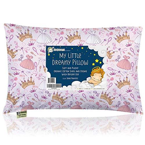 Almohada para niños con Funda - Almohada para bebés de algodón orgánico Suave 13x18 para Dormir - Lavable e Respirable - Niños, bebés y recién Nacidos Viajar (Dear Princess)