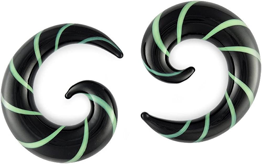 Pair Black and Green Pyrex Glass 4 Complete Free Shipping Spiral 5mm Direct store Gauge 4g