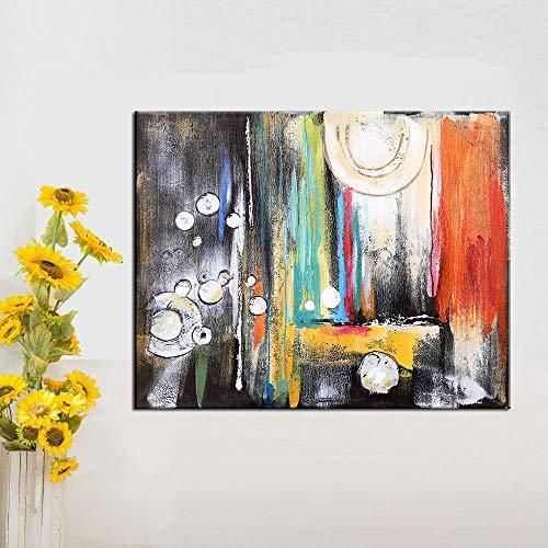 ganlanshu Rahmenlose Malerei Abstrakte Moderne Ölgemälde Bunte Wanddekoration Kunst Leinwand Wohnzimmer HauptdekorationZGQ3820 50X67cm