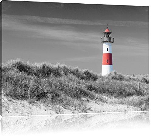 Leuchtturm in den Dünen schwarz/weiß Format: 120x80 auf Leinwand, XXL riesige Bilder fertig gerahmt mit Keilrahmen, Kunstdruck auf Wandbild mit Rahmen, günstiger als Gemälde oder Ölbild, kein Poster oder Plakat