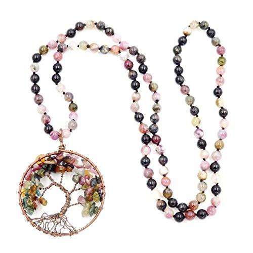 Gemstone Mala Beads Necklace, 108 Buddhist Prayer Beads...