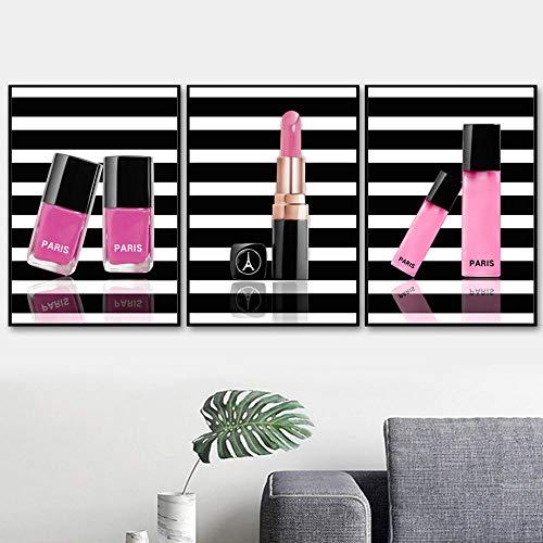CNHNWJ Rose Gold Liefde Lippenstift meisjes nagellak salon muurkunst canvas schilderij poster en afdrukken wandafbeeldingen voor de woonkamer decoratie (40x60 cm x 3 / geen lijst)