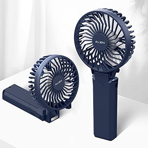 Aujen 携帯扇風機 充電式 最大作動時間35h ハンディファン 手持ち扇風機 小型 卓上扇風機 5200mAh モバイルバッテリーあり パワーバンク 携帯便利折り畳んで スタンド機能 ストラップ付き 分離式 ブルー