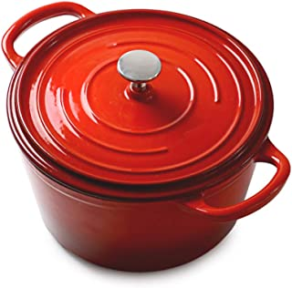 Dutch Oven Family Size Cast Iron Casserole with Non-stick Enemal Coating, 3.8L/22cm Versatile saucepan with lid, Red