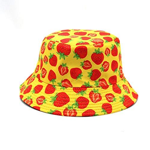 Sombreros de Cubo con Estampado de Fresa, Viajes de Verano, Senderismo, Moda, Ligero, Unisex, al Aire Libre, Gorra 56-58cm