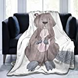 Minalo Throw Blanket,Colorful Woodland Beaver Wild Animal Watercolor Baby Drawn Hand Sketch,Microfiber All Season Bed Couch,40' x 50'