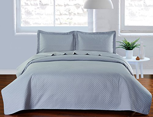 Elegant Comfort Luxury Lightweight 2-Piece Bedspread Coverlet Square Design Quilt Set with Sham -All Season- Hypoallergenic- Wrinkle & Fade Resistant- Twin/Twin XL, Light Grey