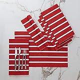 Encasa Homes Manteles Individuales (Set of 6 pcs) Hechos de Fino algodón Acanalado - Tamaño 48x33 cm, Colores y diseños, Uso en el hogar, Restaurantes - Roma Rayas Rojas