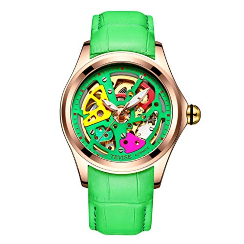 IPOTCH TEVISE Reloj de Pulsera Deportivo Movimiento Mecánico Luminoso a Prueba de Agua 30M para Hombres Chicos - Verde + Oro Rosa