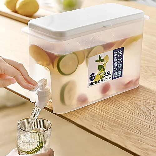 Dispensador de bebidas para nevera Hervidor frío, hervidor frío con grifo en el refrigerador Dispensador de bebidas grande de 3,5 l Exquisito recipiente delgado para bebidas (1)