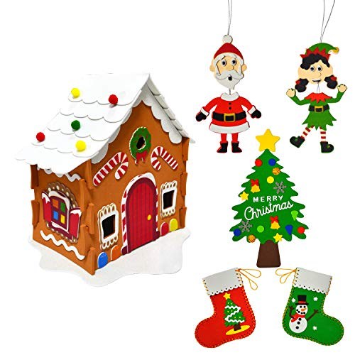 JOYIN Christmas Art and Craft Kit DIY with 3D Gingerbread House, Christmas Tree Door Sign, Foam Stocking Kit, Two Characters Decors Kids Boys & Girls Activities Project Set