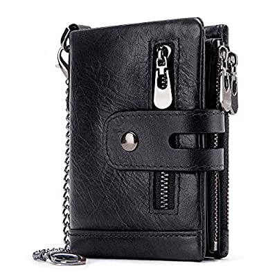 Men Wallet with Chain Black Leather Double Zipper Design and Rfid Blocking Trifold Wallets Minimalist Coin Pocket…