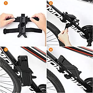 toptrek Candado plegable con soporte giratorio, 100 cm de largo, 8 articulaciones, para bicicleta de montaña, de carreras, BMX, de color negro