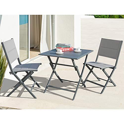 Soleil Jardin Foldable Bistro Set 3-Piece Patio Dining Furniture Set,...
