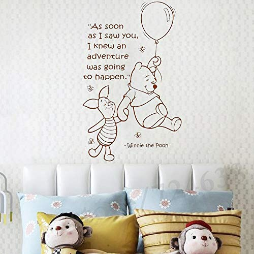 Hot Cute Balloon-Little Bear Wall Decal Girls Boys Baby Room Nursery Vinyl Sticker Quotes Wall Decal Kids Room Wall Art Stickers DIY Home Decor Wall Decorations,Black