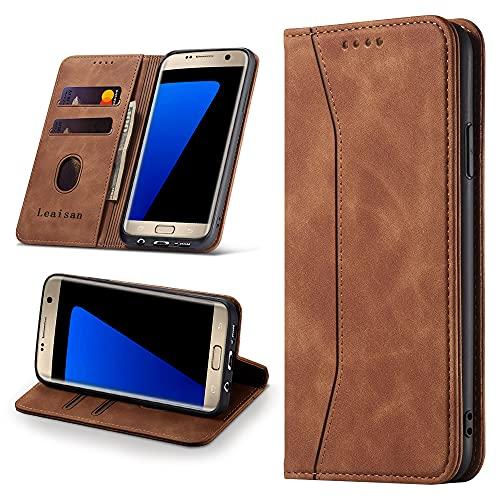 Leaisan Handyhülle für Samsung Galaxy S7 Hülle Premium Leder Flip Klappbare Stoßfeste Magnetische [Standfunktion] [Kartenfächern] Schutzhülle für Samsung Galaxy S7 Tasche - Braun