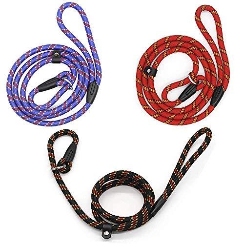 HPiano Führleine für Hunde, 3 Stück, Retrieverleine mit Zugstopp, verstellbare Führleine für kleine, mittelgroße Hunde, Hundeleine für Training/Übung, superweich geflochtenes Nylon
