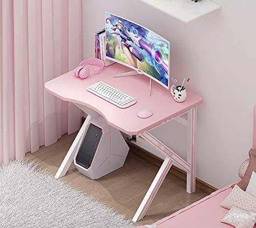 Escritorio para juegos Escritorio de mesa para juegos de 100 cm para PC y administración de cables para el dormitorio de la oficina en casa,Pink 80x60cm