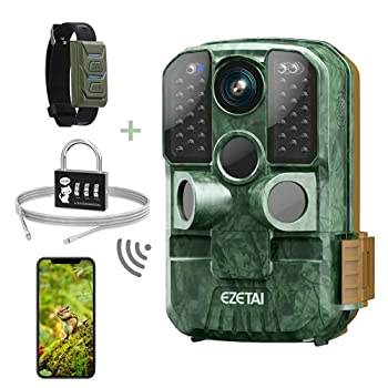 WiFi Trail Camera,EZETAI 24MP Game Cameras,1296P Hunting Motion Cameras with Night Vision Outdoor for Wildlife Monitoring,Deer Camera That Sends Picture to Cell Phone,with Password Lock,WiFi Hotspot