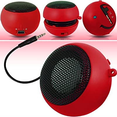 N4U Online RED SUPER SOUND RECHARGEABLE MINI POCKET SIZE PORTABLE SPEAKER 3.5MM AUDIO JACK BUILT IN WITH USB CHARGER LEAD SUITABLE FOR BLACKBERRY 9220 CURVE from N4U ONLINE