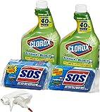 Clorox Clean-Up Bleach Cleaner Spray, S.O.S All Surface Scrub Sponge,...