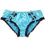 Feeshow Herren-Bikini-Slip, weich, gerüscht, florale Spitze, glänzend, Satin, Unterwäsche Gr. M,...