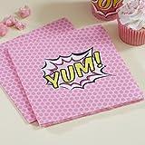 Ginger Ray Rosa Papier-Servietten, Aufschrift Yum!, 20 Stück–Pop-Art-Stil, für Superhelden-Mottoparty