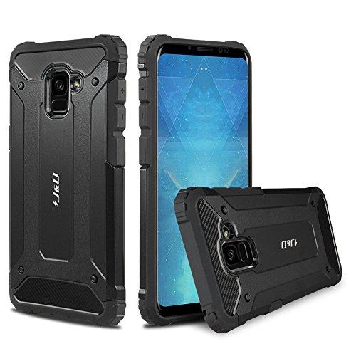 J&D Compatible pour Coque Galaxy A8 2018, [ArmorBox] [Double Couche] Coque de Protection Robuste Antichoc et Hybride pour Samsung Galaxy A8 2018 - [Pas pour Galaxy A8 Plus 2018] - Noir