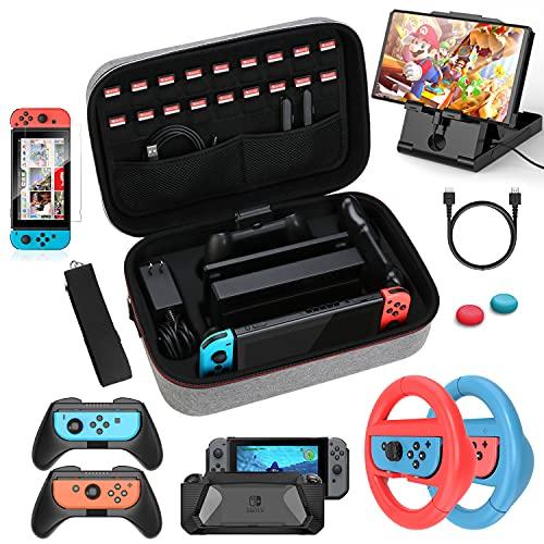HEYSTOP Kit de Accesorios 12 en 1 Compatible con Nintendo Switch, con Funda de Transporte, TPU Cubierta Protectora, Grip y Volante, Soporte,Protector de Pantalla,Apretones de Pulgar, Cable USB (Gris)