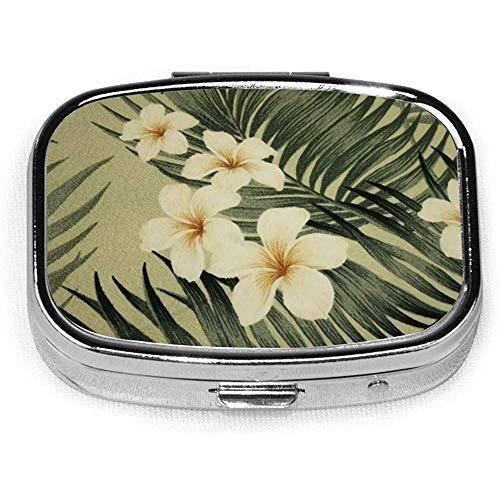 Hawaïaans met tropische planten en hibiscus bloemen koele bedrukte customSquare pil doos decoratieve doos vitamine container