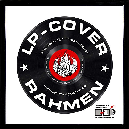 LP Schallplatten-Cover Rahmen - LP Rahmen Qualitäts-Wechselrahmen der Marke Empire® Frames Profil 15mm Kunststoff schwarz Acrylglas-Scheibe - Aussengrösse 34,5x34,5 cm