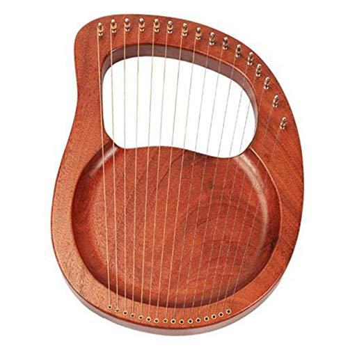 Cimoto Instrumento de Cuerda de Madera Maciza de Caoba Con Arpa de Lira de Madera de 16 Cuerdas Con Llave de AfinacióN