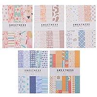 NUOBESTY 5個のパターン紙パックスクラップブック紙パッド2。99X2。00インチスクラップブッキングカード工芸品