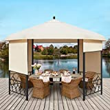 AVAWING 11.5' Hexagonal Gazebo, Outdoor Canopy Gazebo Roof Patio Gazebo Steel Frame Pavilion with Lift Shade Curtains for Garden,Patio,Party, Beige