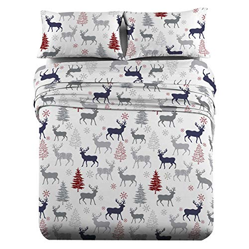 Royal Tradition Heavyweight Flannel, 100-Percent Cotton Split King 5PC Sheets Set for Adjustable Beds, Christmas Deer Print, 170 GSM