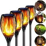 BIGFOX 4 Pcs Llama Luz Solar Exterior con Gancho, 3 in 1 Antorcha Solar Efecto Fuego,IP65 Impermeable Encendido/Apagado Automático Luces Solares para Jardín Terraza Playa Iluminación al Aire Libre