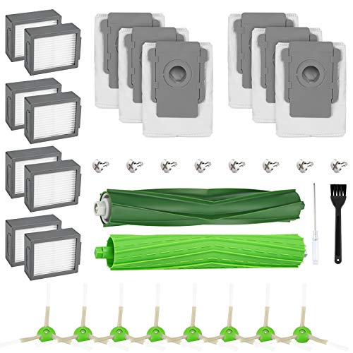 isinlive Replacement Parts Compatible with iRobot Roomba i & E Series i7 i7+ i3 i3+ i4 i6 i6+ i8 i8+ E5 E6 E7 Robotics, 1 Set Multi-Surface Rubber Brushes 8 HEPA Filters 8 Side Brushes 6 Vacuum Bags