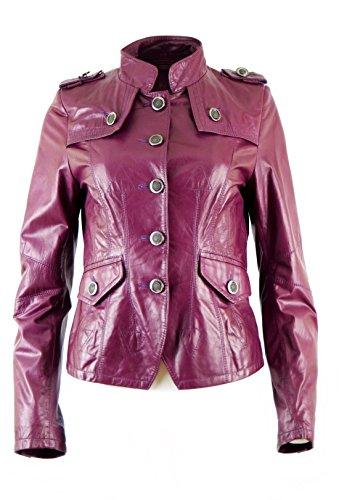 DX Elegant dames lederen jas, blazer lila, echt leer KKLD-0005