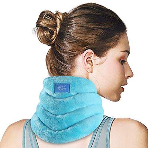 Relief Expert Neck Heating Pad Microwavable Heated Neck Wrap for Pain Relief, Microwave Neck Warmer for Hot Cold Therapy - Hands Free, Portable